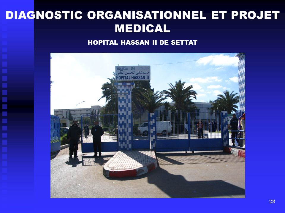 28 DIAGNOSTIC ORGANISATIONNEL ET PROJET MEDICAL HOPITAL HASSAN II DE SETTAT