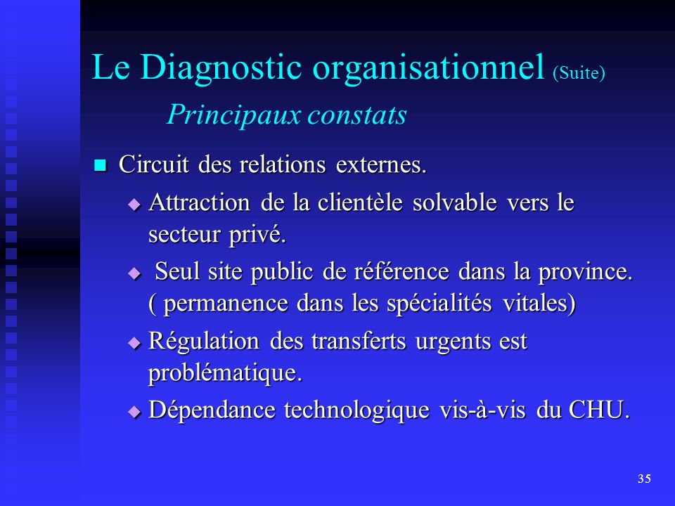 35 Le Diagnostic organisationnel (Suite) Principaux constats Circuit des relations externes.