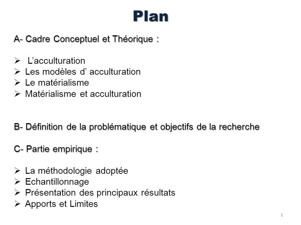 Plan A- Cadre Conceptuel et Théorique : Lacculturation Les modèles d acculturation Le matérialisme Matérialisme et acculturation B- Définition de la p
