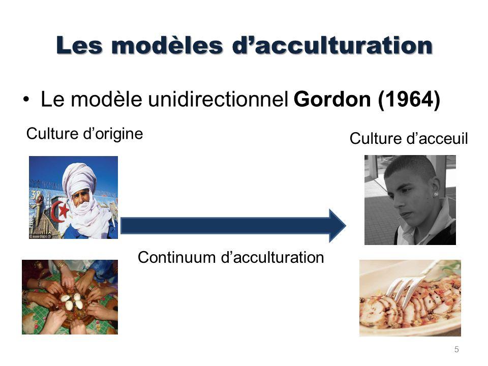 Le modèle multidirectionnel: Berry(1989) OuiNon OuiIntégrationAssimilation NonSéparationMarginalisation Maintien de son identité culturelle et adoption de la culture dominante.