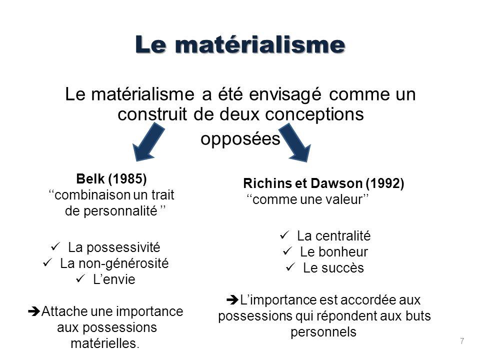Le matérialisme Le matérialisme a été envisagé comme un construit de deux conceptions opposées Belk (1985) combinaison un trait de personnalité La possessivité La non-générosité Lenvie Attache une importance aux possessions matérielles.