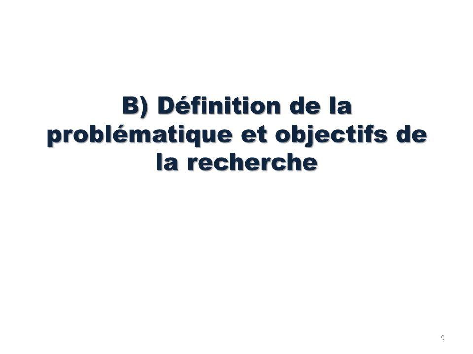 B) Définition de la problématique et objectifs de la recherche 9