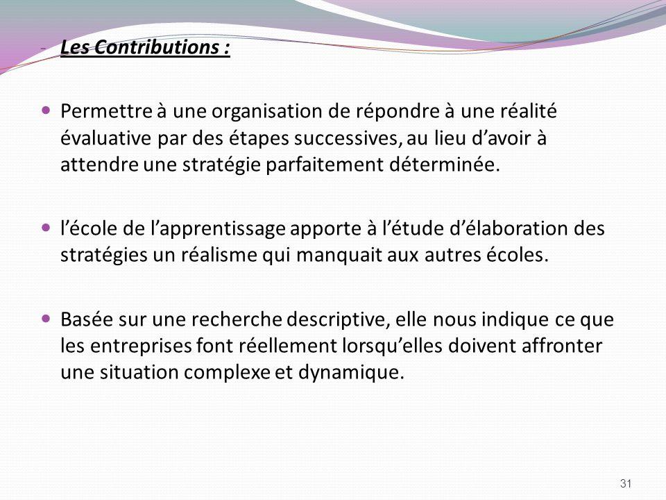 - Les Contributions : Permettre à une organisation de répondre à une réalité évaluative par des étapes successives, au lieu davoir à attendre une stra