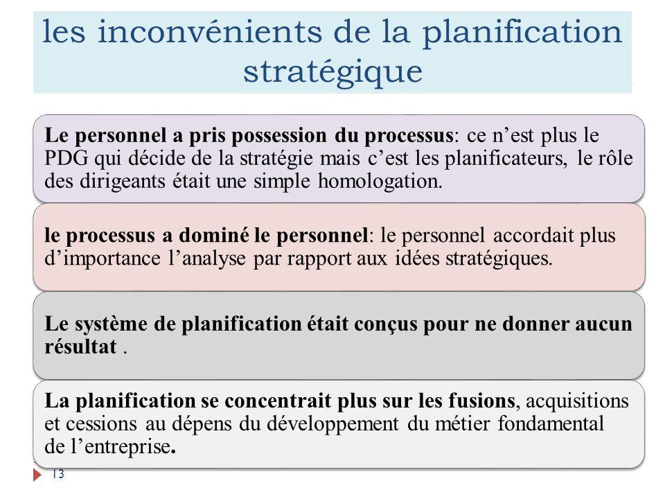 les inconvénients de la planification stratégique 13 Le personnel a pris possession du processus: ce nest plus le PDG qui décide de la stratégie mais