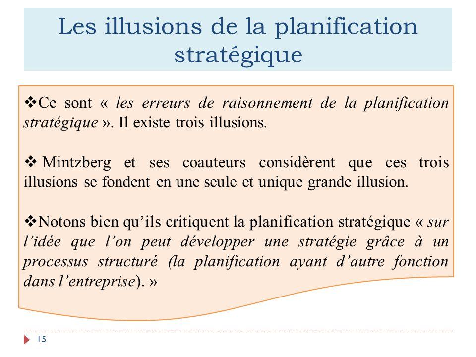 Les illusions de la planification stratégique 15 Ce sont « les erreurs de raisonnement de la planification stratégique ». Il existe trois illusions. M