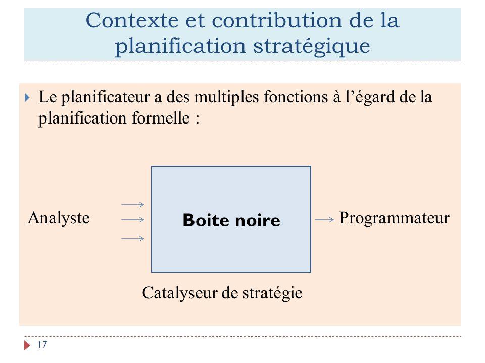 Contexte et contribution de la planification stratégique 17 Le planificateur a des multiples fonctions à légard de la planification formelle : Analyst