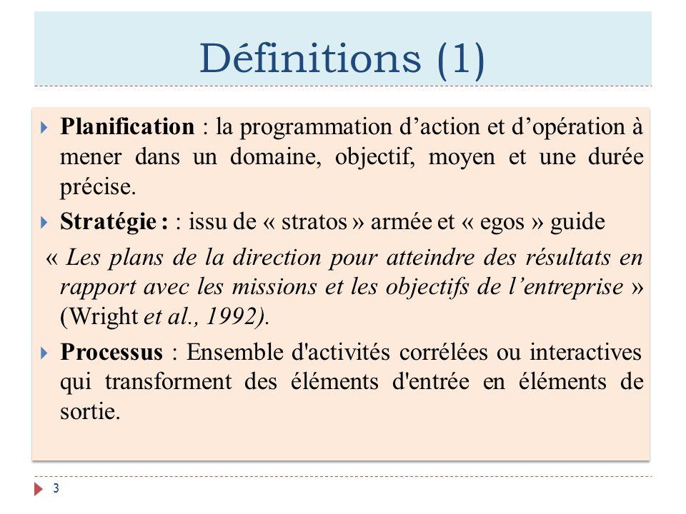 Définitions (1) Planification : la programmation daction et dopération à mener dans un domaine, objectif, moyen et une durée précise. Stratégie : : is