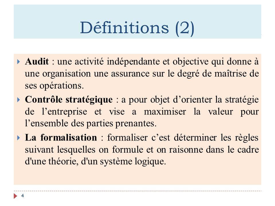 Définitions (2) 4 Audit : une activité indépendante et objective qui donne à une organisation une assurance sur le degré de maîtrise de ses opérations