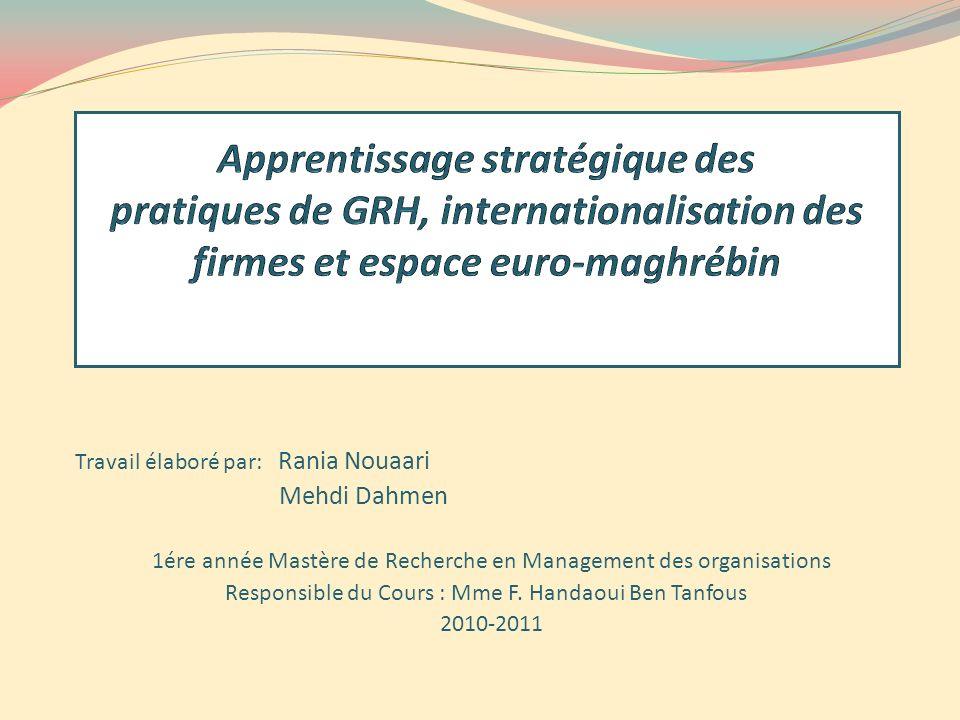 Travail élaboré par: Rania Nouaari Mehdi Dahmen 1ére année Mastère de Recherche en Management des organisations Responsible du Cours : Mme F. Handaoui