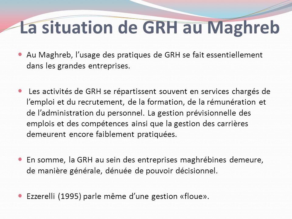 La situation de GRH au Maghreb Au Maghreb, lusage des pratiques de GRH se fait essentiellement dans les grandes entreprises. Les activités de GRH se r