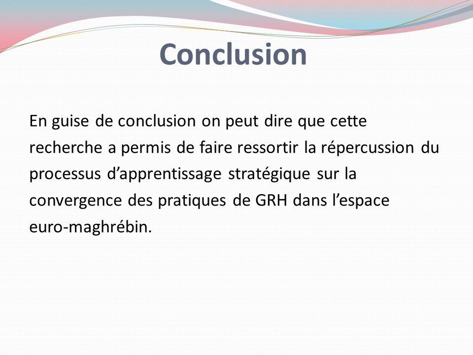 Conclusion En guise de conclusion on peut dire que cette recherche a permis de faire ressortir la répercussion du processus dapprentissage stratégique