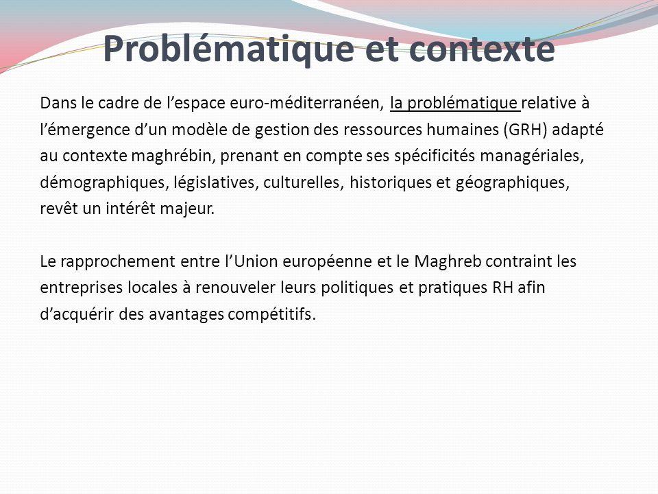 Problématique et contexte Dans le cadre de lespace euro-méditerranéen, la problématique relative à lémergence dun modèle de gestion des ressources hum