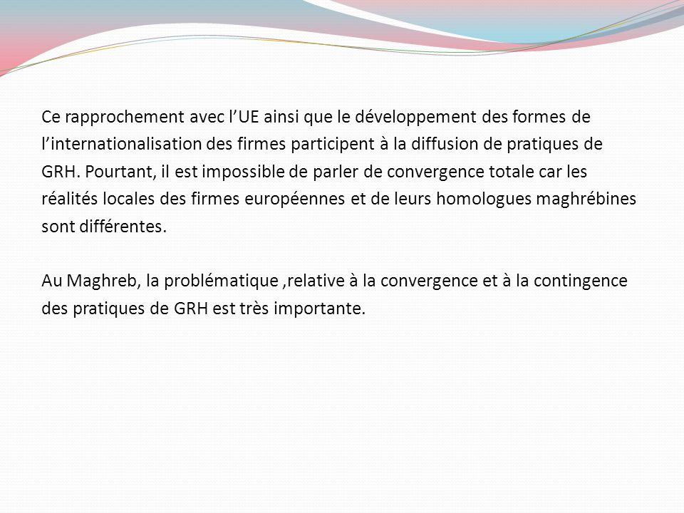 Ce rapprochement avec lUE ainsi que le développement des formes de linternationalisation des firmes participent à la diffusion de pratiques de GRH. Po