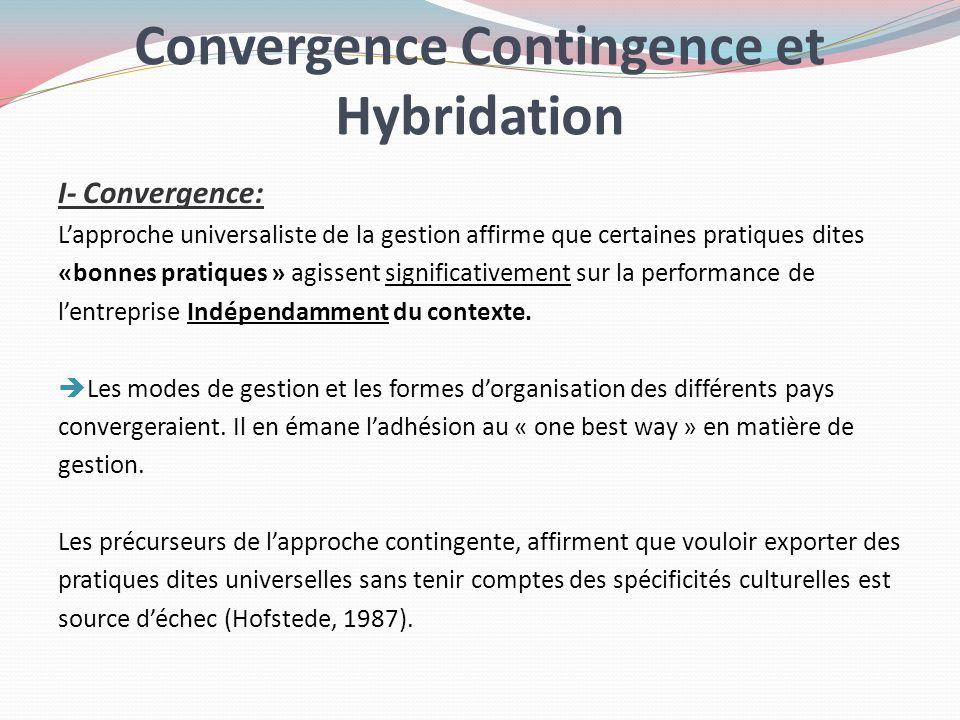 Convergence Contingence et Hybridation I- Convergence: Lapproche universaliste de la gestion affirme que certaines pratiques dites «bonnes pratiques »