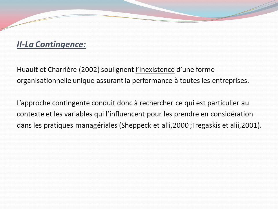 II-La Contingence: Huault et Charrière (2002) soulignent linexistence dune forme organisationnelle unique assurant la performance à toutes les entrepr