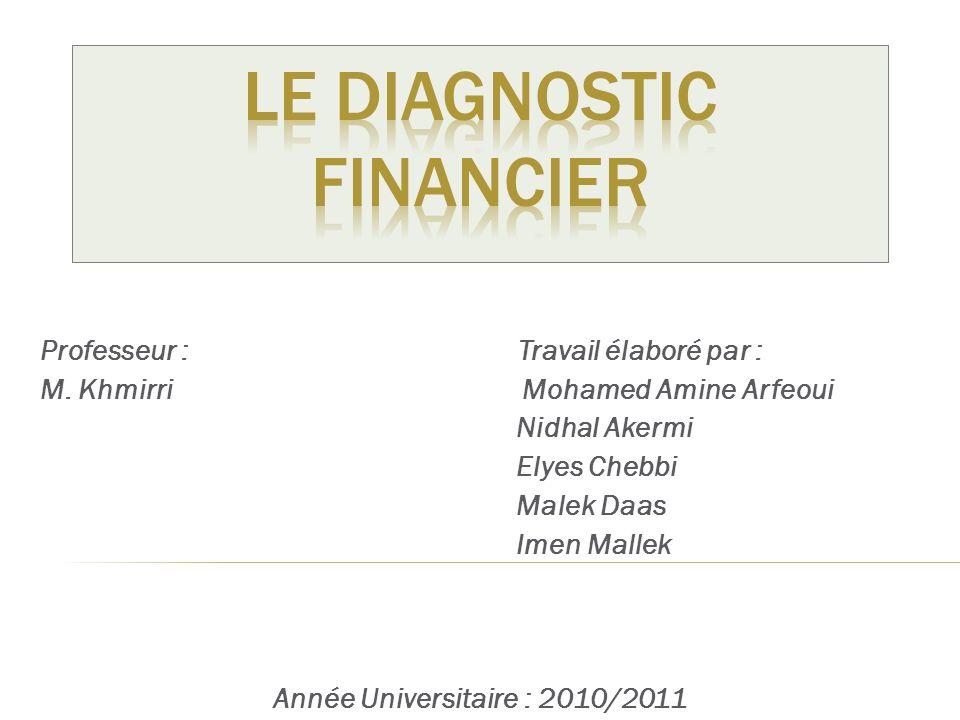 2 1.Définition du Diagnostic Financier 2.Différence entre Diagnostic et Contrôle 3.Objectifs du Diagnostic 4.Démarche et Outils 5.Utilisateurs et rôle 6.Méthodes 7.Les Difficultés rencontrées 8.Conclusion