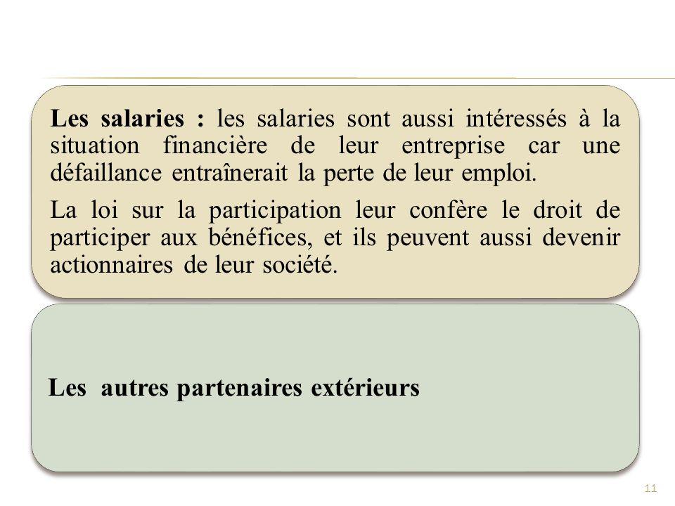 Les salaries : les salaries sont aussi intéressés à la situation financière de leur entreprise car une défaillance entraînerait la perte de leur emplo
