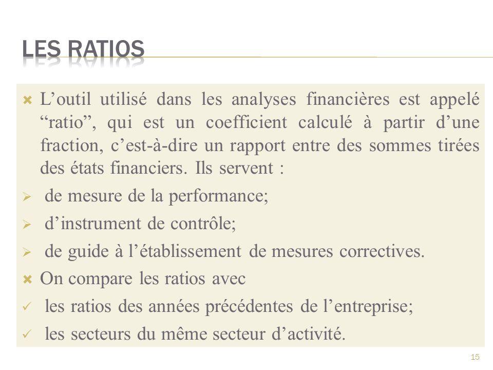 Loutil utilisé dans les analyses financières est appelé ratio, qui est un coefficient calculé à partir dune fraction, cest-à-dire un rapport entre des