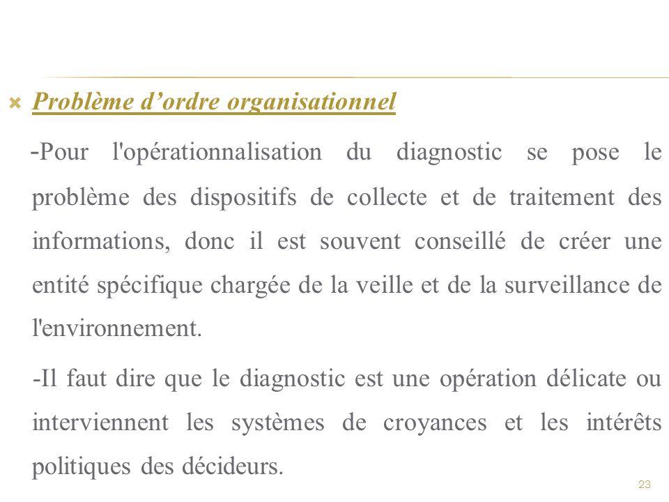 Problème dordre organisationnel - Pour l'opérationnalisation du diagnostic se pose le problème des dispositifs de collecte et de traitement des inform