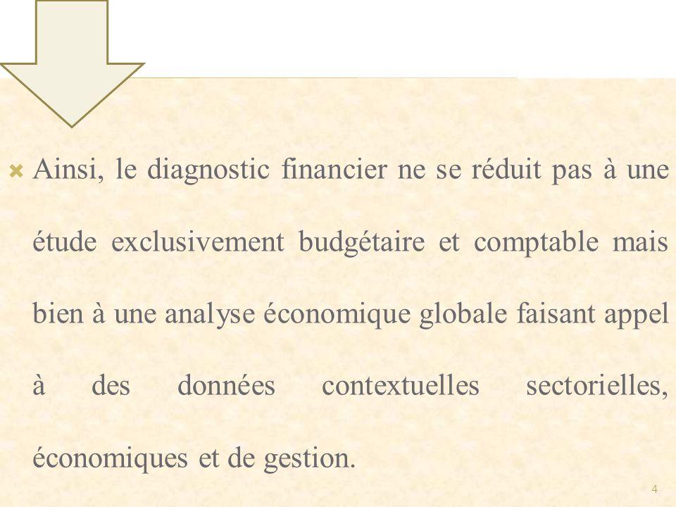 Ainsi, le diagnostic financier ne se réduit pas à une étude exclusivement budgétaire et comptable mais bien à une analyse économique globale faisant a