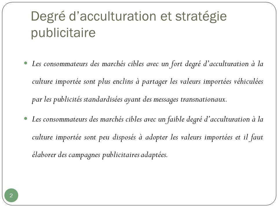 Degré dacculturation et stratégie publicitaire 2 Les consommateurs des marchés cibles avec un fort degré dacculturation à la culture importée sont plu