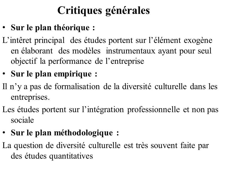 Critiques générales Sur le plan théorique : Lintêret principal des études portent sur lélément exogène en élaborant des modèles instrumentaux ayant po