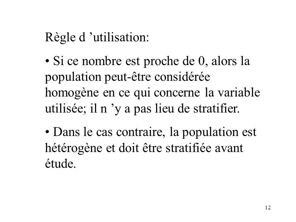 12 Règle d utilisation: Si ce nombre est proche de 0, alors la population peut-être considérée homogène en ce qui concerne la variable utilisée; il n
