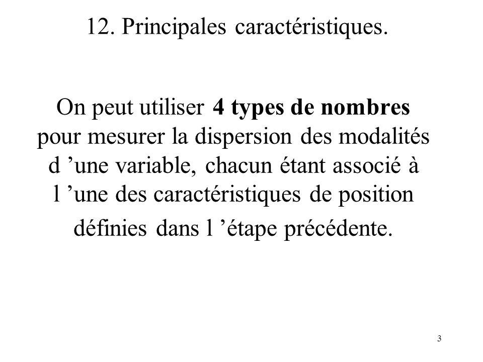 3 On peut utiliser 4 types de nombres pour mesurer la dispersion des modalités d une variable, chacun étant associé à l une des caractéristiques de po