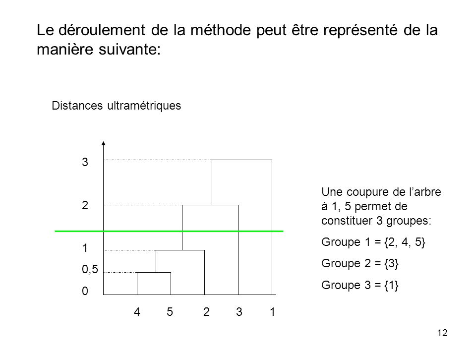 12 Le déroulement de la méthode peut être représenté de la manière suivante: Distances ultramétriques 4 5 2 3 1 3 2 1 0,5 0 Une coupure de larbre à 1,