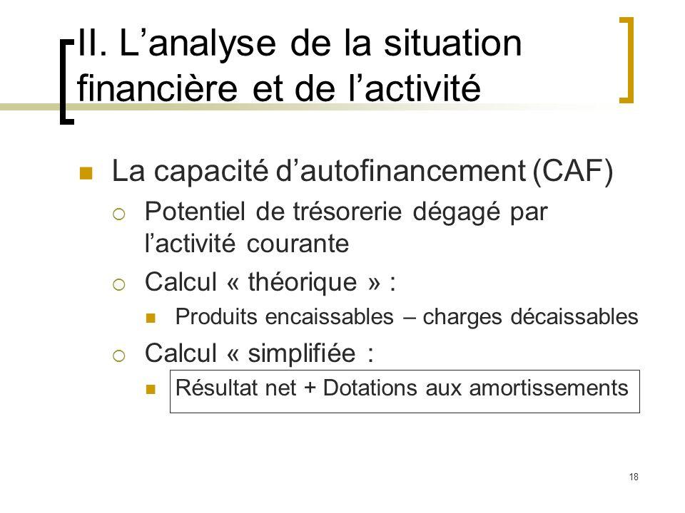 18 II. Lanalyse de la situation financière et de lactivité La capacité dautofinancement (CAF) Potentiel de trésorerie dégagé par lactivité courante Ca