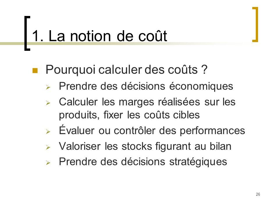 26 1. La notion de coût Pourquoi calculer des coûts ? Prendre des décisions économiques Calculer les marges réalisées sur les produits, fixer les coût