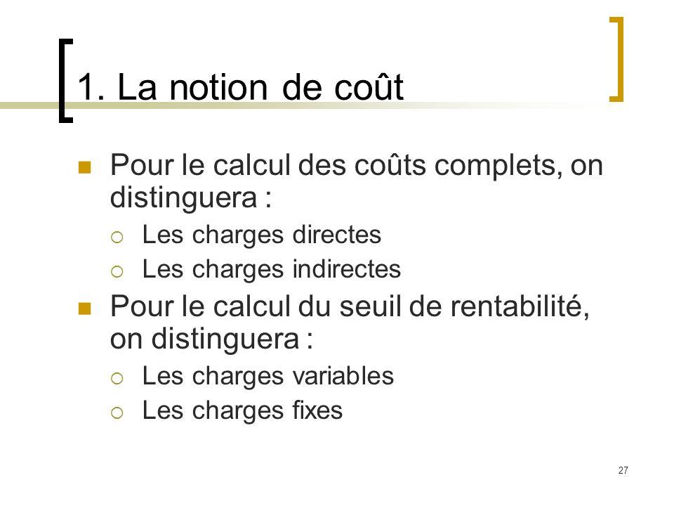27 1. La notion de coût Pour le calcul des coûts complets, on distinguera : Les charges directes Les charges indirectes Pour le calcul du seuil de ren