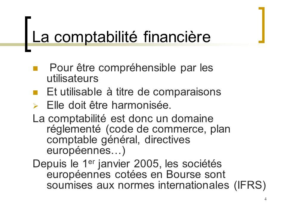 4 La comptabilité financière Pour être compréhensible par les utilisateurs Et utilisable à titre de comparaisons Elle doit être harmonisée. La comptab