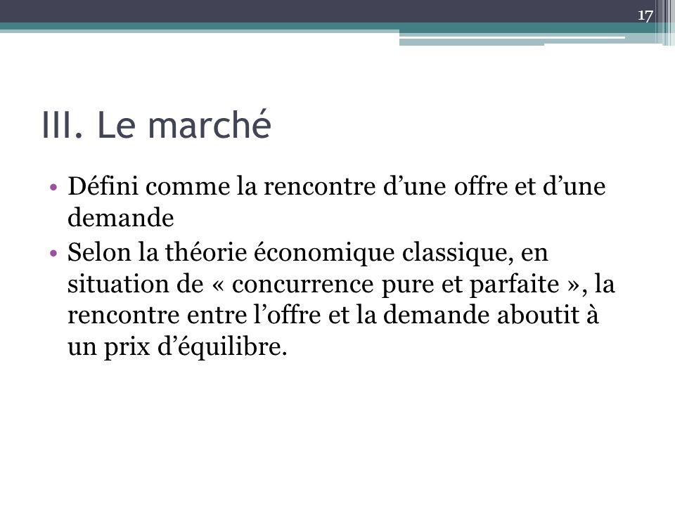 III. Le marché Défini comme la rencontre dune offre et dune demande Selon la théorie économique classique, en situation de « concurrence pure et parfa