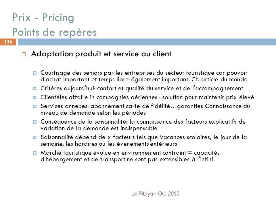 Prix - Pricing Points de repères La Pitaya - Oct 2010 116 Adaptation produit et service au client Courtisage des seniors par les entreprises du secteu