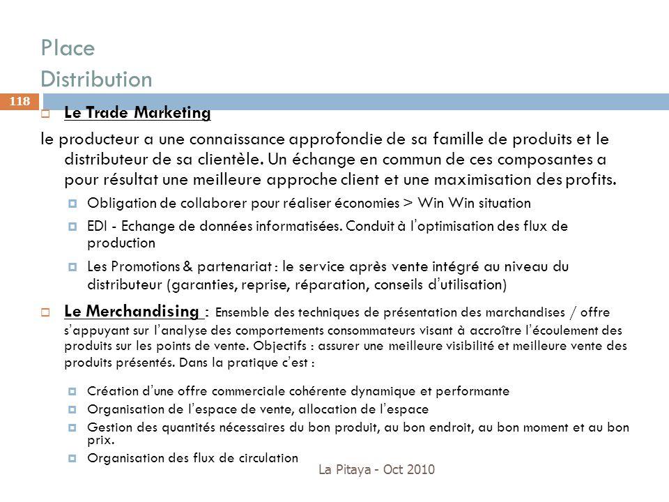 Place Distribution La Pitaya - Oct 2010 118 Le Trade Marketing le producteur a une connaissance approfondie de sa famille de produits et le distribute