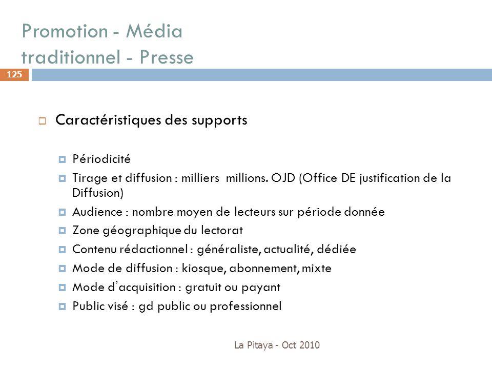 Promotion - Média traditionnel - Presse La Pitaya - Oct 2010 125 Caractéristiques des supports Périodicité Tirage et diffusion : milliers millions. OJ