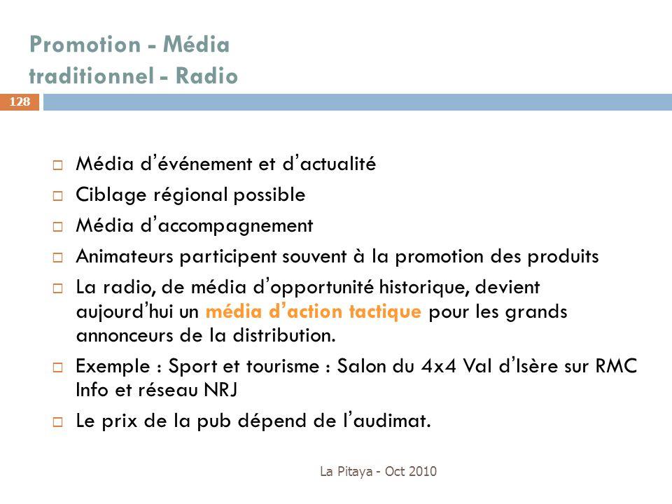 Promotion - Média traditionnel - Radio La Pitaya - Oct 2010 128 Média dévénement et dactualité Ciblage régional possible Média daccompagnement Animate