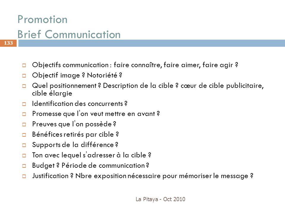 Promotion Brief Communication La Pitaya - Oct 2010 133 Objectifs communication : faire connaître, faire aimer, faire agir ? Objectif image ? Notoriété