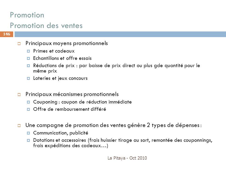 Promotion Promotion des ventes La Pitaya - Oct 2010 146 Principaux moyens promotionnels Primes et cadeaux Echantillons et offre essais Réductions de p