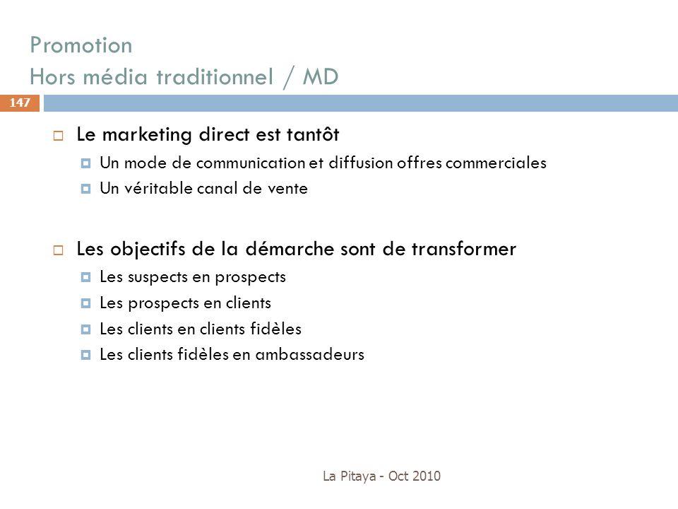 Promotion Hors média traditionnel / MD La Pitaya - Oct 2010 147 Le marketing direct est tantôt Un mode de communication et diffusion offres commercial