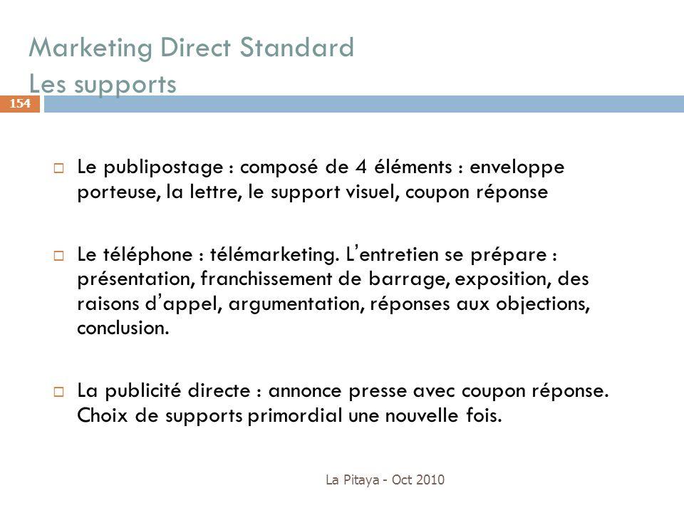 Marketing Direct Standard Les supports La Pitaya - Oct 2010 154 Le publipostage : composé de 4 éléments : enveloppe porteuse, la lettre, le support vi