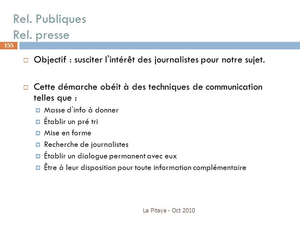 Rel. Publiques Rel. presse La Pitaya - Oct 2010 155 Objectif : susciter lintérêt des journalistes pour notre sujet. Cette démarche obéit à des techniq