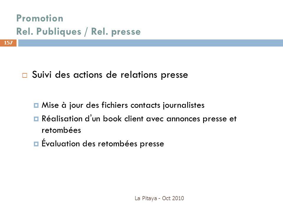 Promotion Rel. Publiques / Rel. presse La Pitaya - Oct 2010 157 Suivi des actions de relations presse Mise à jour des fichiers contacts journalistes R