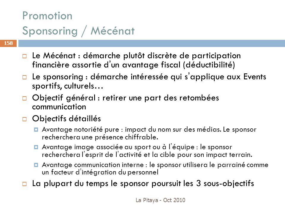 Promotion Sponsoring / Mécénat La Pitaya - Oct 2010 158 Le Mécénat : démarche plutôt discrète de participation financière assortie dun avantage fiscal