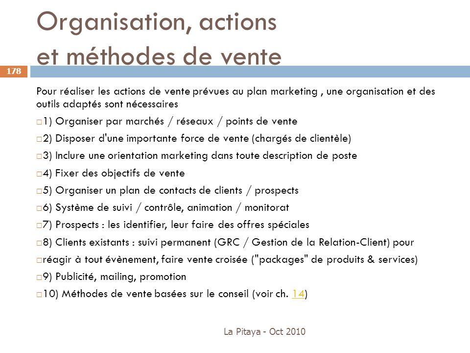 Organisation, actions et méthodes de vente La Pitaya - Oct 2010 178 Pour réaliser les actions de vente prévues au plan marketing, une organisation et