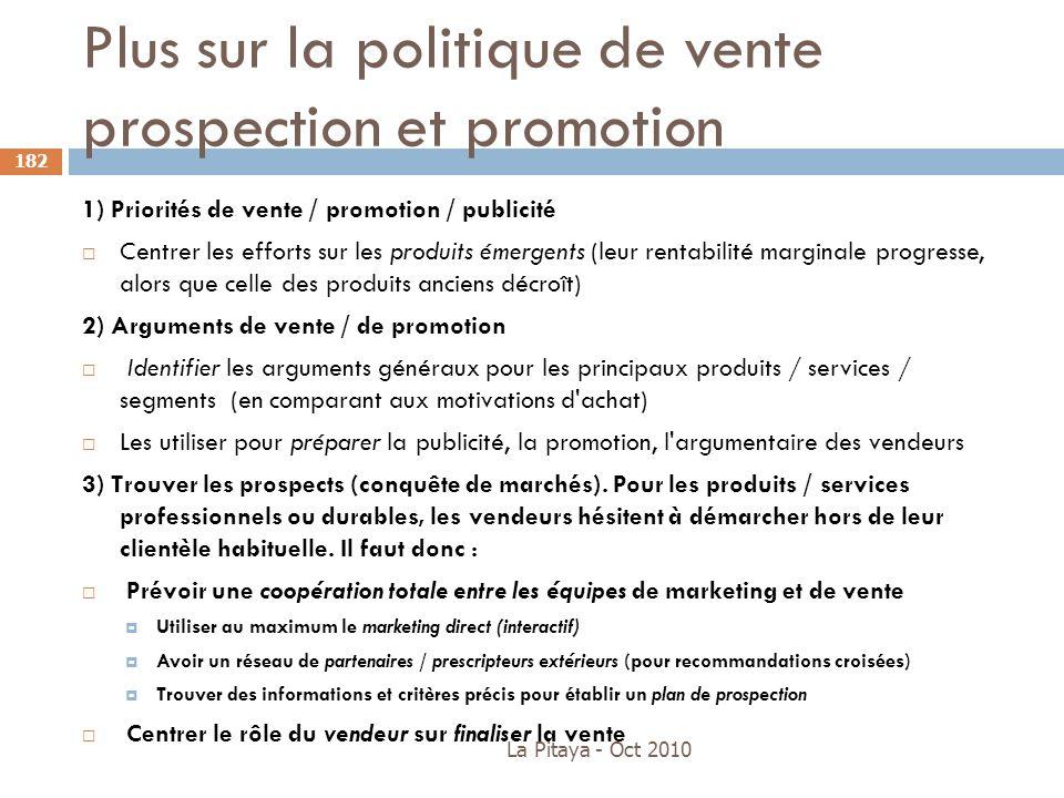 Plus sur la politique de vente prospection et promotion La Pitaya - Oct 2010 182 1) Priorités de vente / promotion / publicité Centrer les efforts sur