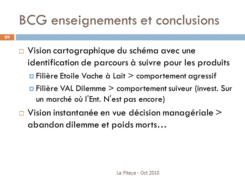 BCG enseignements et conclusions Vision cartographique du schéma avec une identification de parcours à suivre pour les produits Filière Etoile Vache à