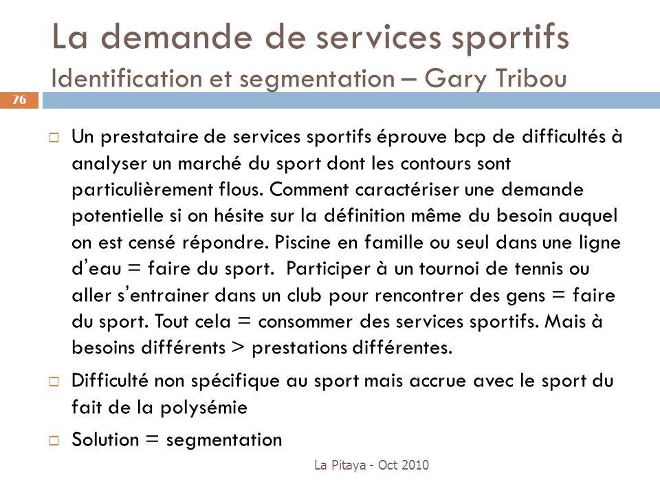 La demande de services sportifs Identification et segmentation – Gary Tribou Un prestataire de services sportifs éprouve bcp de difficultés à analyser