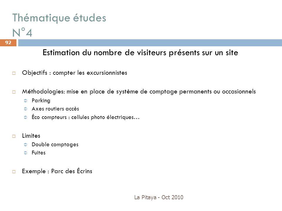 Thématique études N°4 La Pitaya - Oct 2010 92 Estimation du nombre de visiteurs présents sur un site Objectifs : compter les excursionnistes Méthodolo